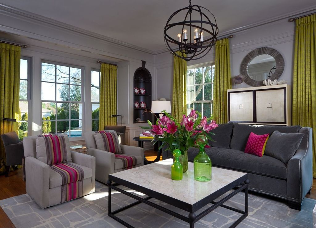 Contemporary Living Room with picture window, Wainscotting, Capital lighting - axis 6 light globe pendant 4236rs, Chandelier