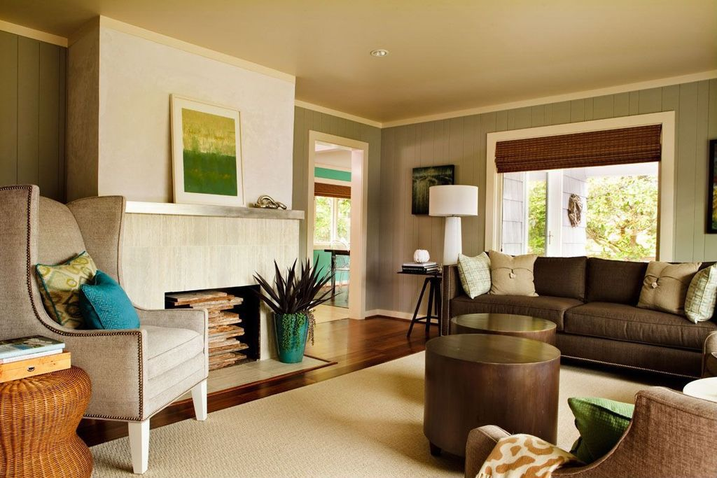 Contemporary Living Room with can lights, Bassett discoveries cylinder side table, Paint 1, picture window, Hardwood floors