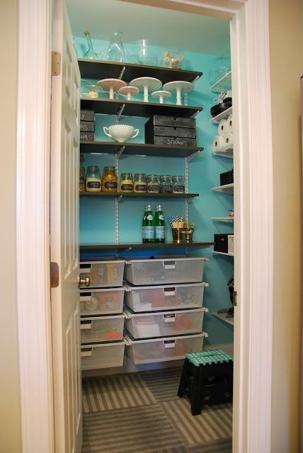 Contemporary Pantry with six panel door, Flat panel cabinets, Carpet, Standard height, Built-in bookshelf