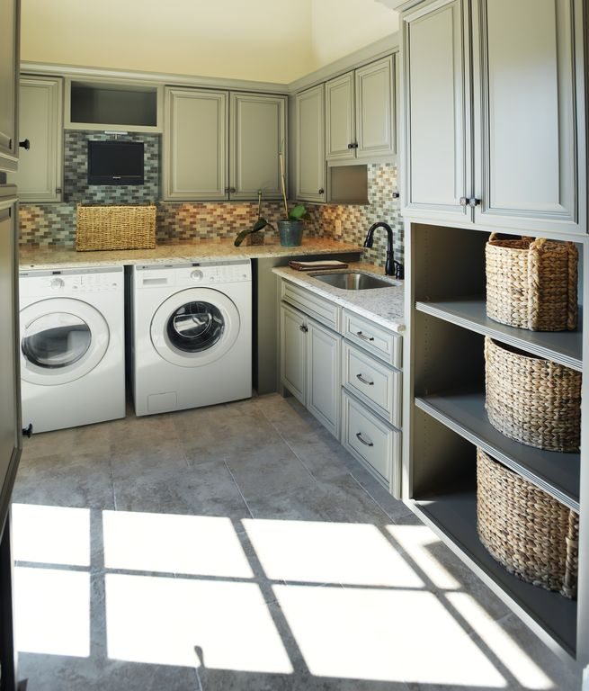 Traditional Laundry Room with Standard height, Built-in bookshelf, laundry sink, Basket set with handles, Open shelving