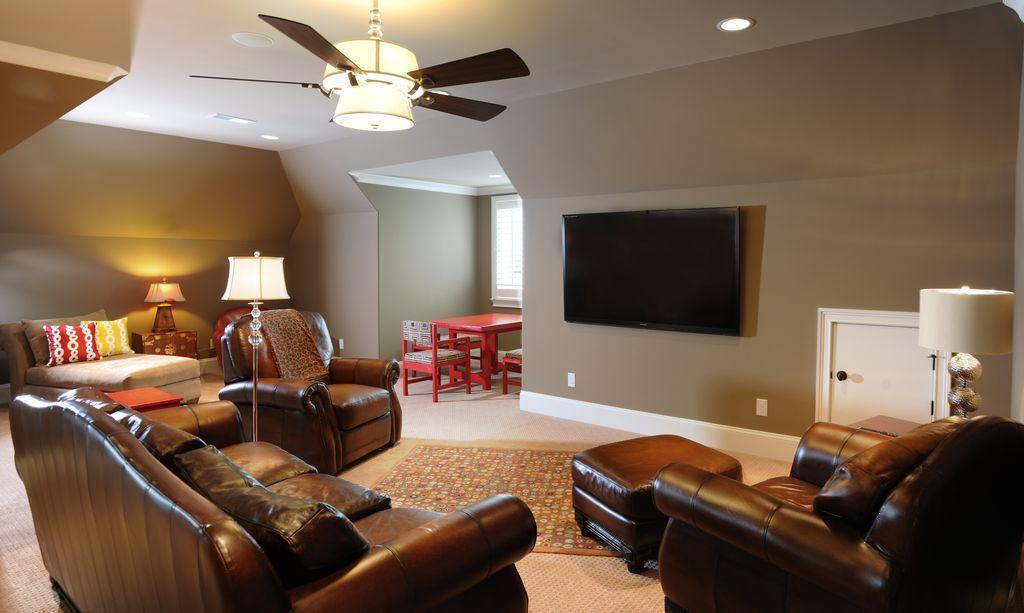 Modern Living Room with can lights, Carpet, flush light, Casement, High ceiling