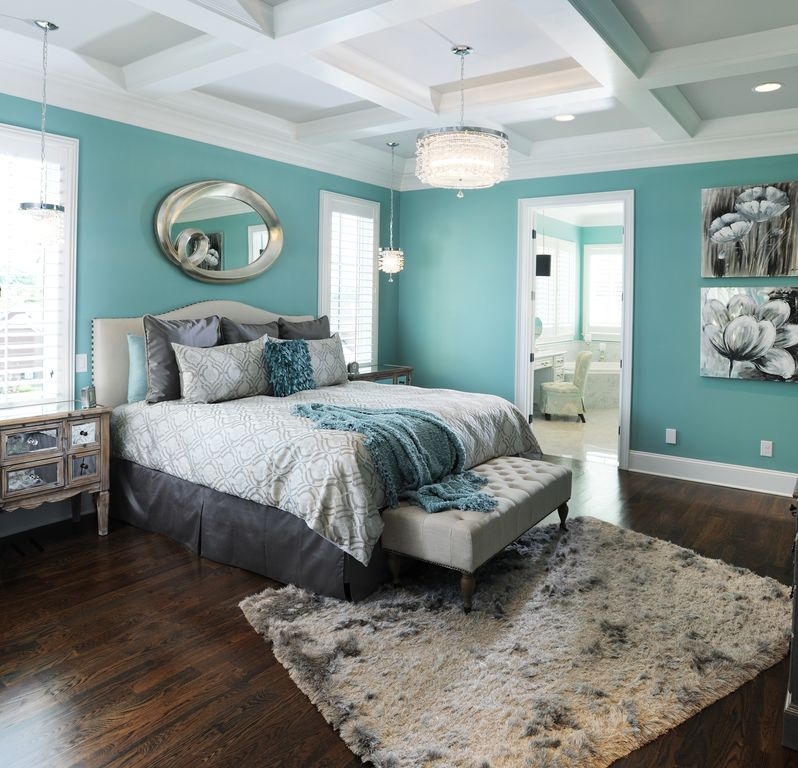 Contemporary Guest Bedroom with High ceiling, can lights, Pendant light, Hardwood floors, Box ceiling, Casement