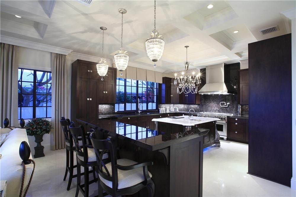 Modern Kitchen with double oven range, Chandelier, Casement, Crown molding, Kitchen island, Framed Partial Panel, Paint 1