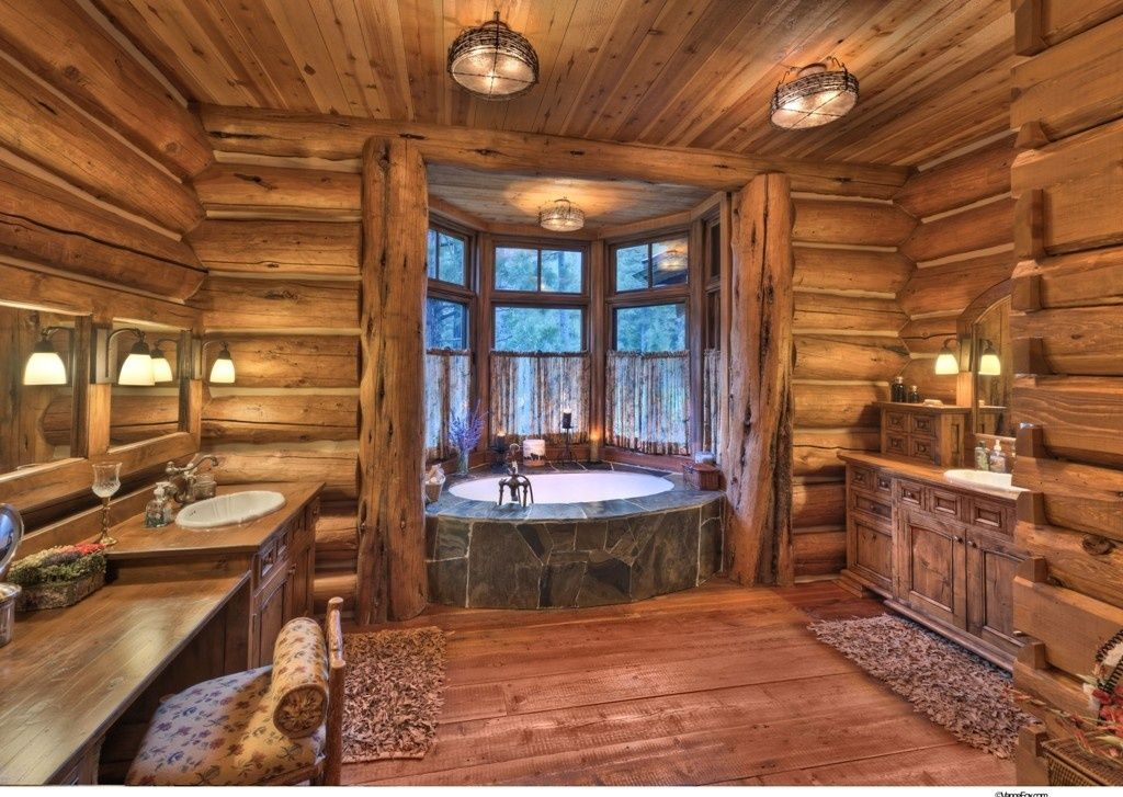 Rustic 3 4 bathroom with drop in bathtub log house for Home design ideas zillow