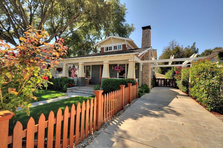 Craftsman Front of Home with Pathway, Gate, exterior stone floors