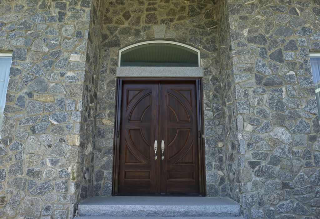 Craftsman Front Door With Exterior Stone Floors Transom