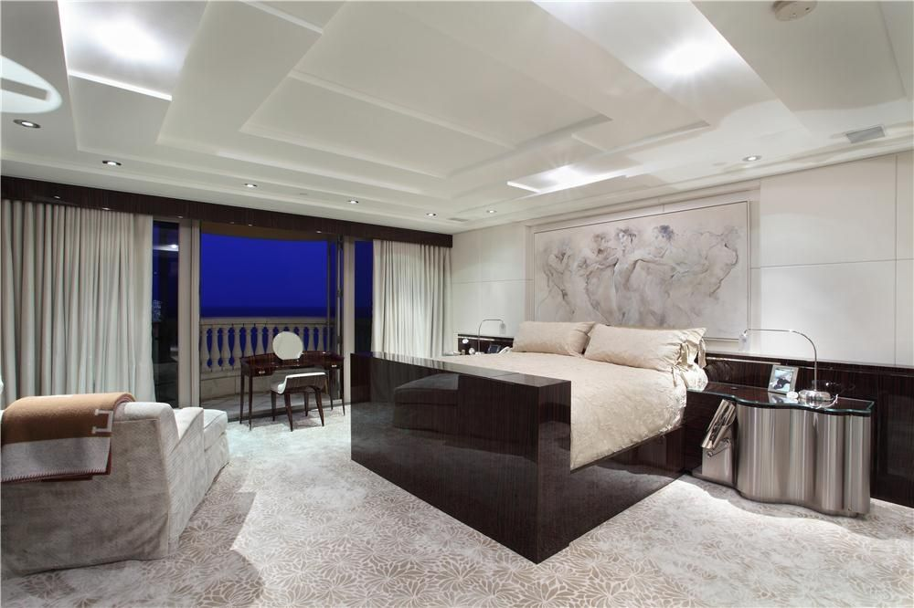 Modern Master Bedroom with Box ceiling, picture window, Balcony, can lights, Carpet, Standard height, sliding glass door