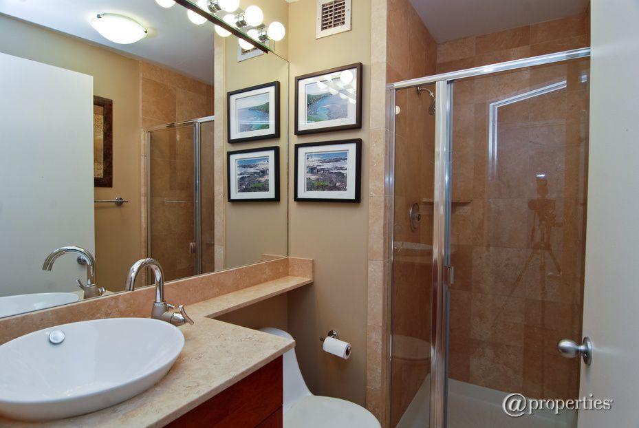 Modern Full Bathroom with Shower, Limestone, wall-mounted above mirror bathroom light, European Cabinets, Standard height
