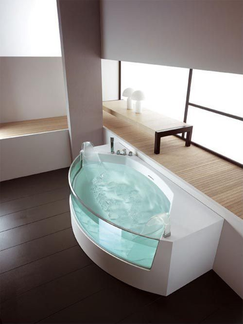 Contemporary Full Bathroom with Mushroom glass table lamp, Spa bathroom, Paint 1, Paint 2, 2 person soaking tub