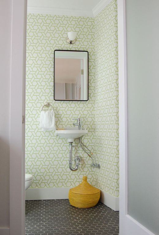 Contemporary Powder Room with Signature Hardware - Uno Single-Hole Bathroom Faucet, Connected Artisans Lidded Warming Basket