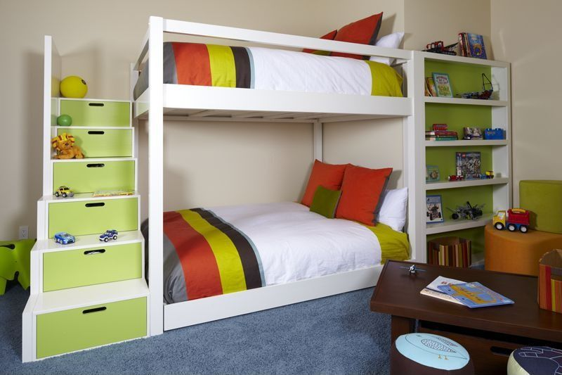 Contemporary Kids Bedroom with Paint2, School house stair loft bed, Paint