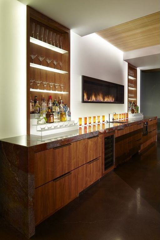 Contemporary Bar with Standard height, Built-in bookshelf, Concrete floors, flat door