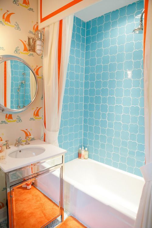 contemporary full bathroom with wall mounted sink shades