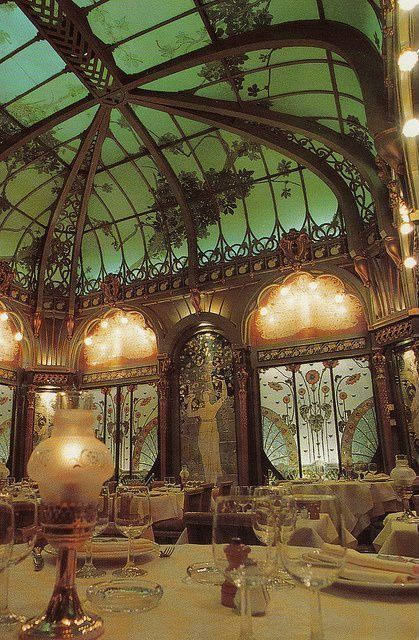 Eclectic Dining Room with Art nouveau
