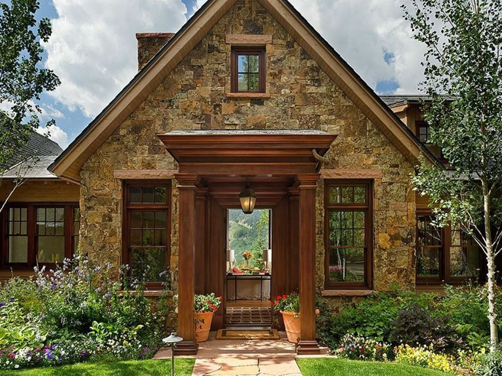 Cottage front door with wood frame windows zillow digs Cute homes