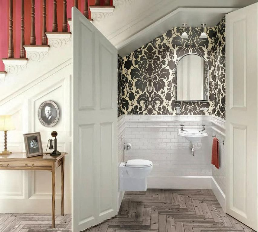 Traditional Powder Room with Loft, Standard height, Powder room, interior wallpaper, Wall mounted sink, Paint 1, flush light