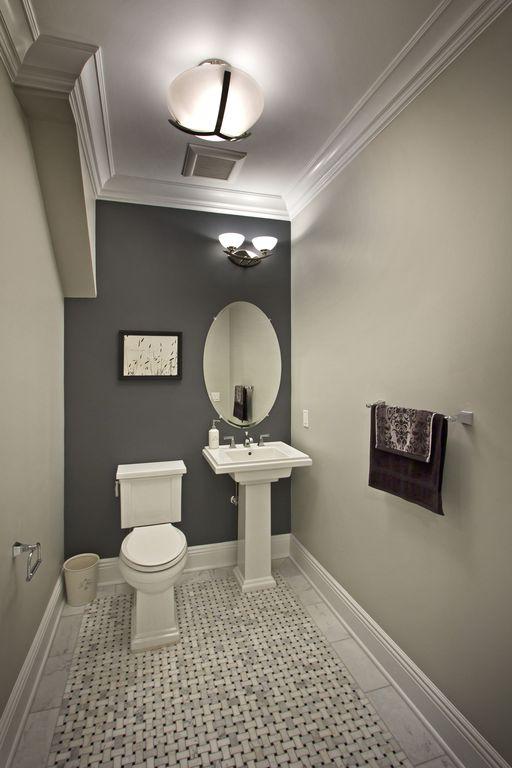 Traditional Powder Room with Pedestal sink, wall-mounted above mirror bathroom light, flush light, Interlocking Pavers