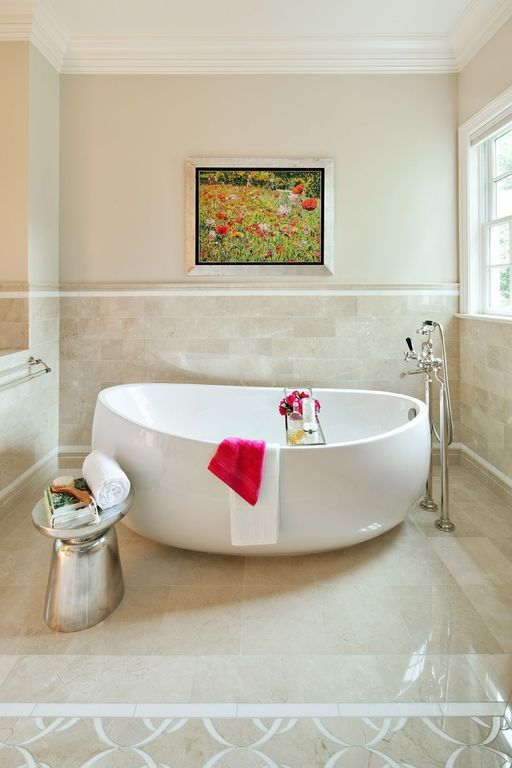 Contemporary Master Bathroom with Freestanding tub, double-hung window, Paint, Specialty Tile, Shower, Tiled chair rail