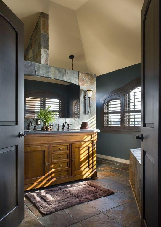Craftsman Full Bathroom with stone tile floors, specialty door, Undermount sink, Master bathroom, Inset cabinets, Double sink