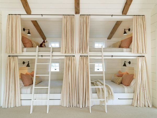 Cottage Guest Bedroom with Restoration Hardware 20th C. Library Single Sconce, Exposed beam, Paint 1, Bunk beds, Carpet