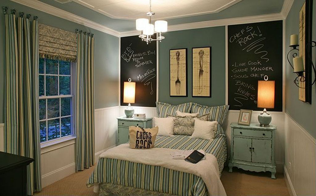 Cottage Guest Bedroom with Paint 2, Carpet, Chalkboard paint, double-hung window, Painted wood panel wall, Paint 1
