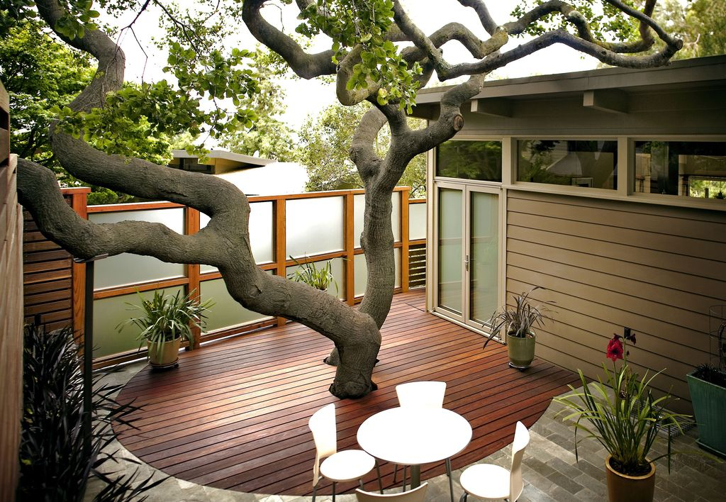 Contemporary Deck with Transom window, French doors, IPEDPOT B-grade Ipe Decking, Decorative wood deck inset, Fence