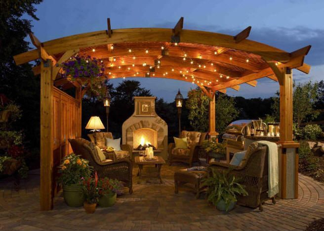 Contemporary Landscape/Yard with Fire pit, Bull angus built-in gas grill, Arbor, Sonoma 12 x 12 ft. Arched Wood Pergola