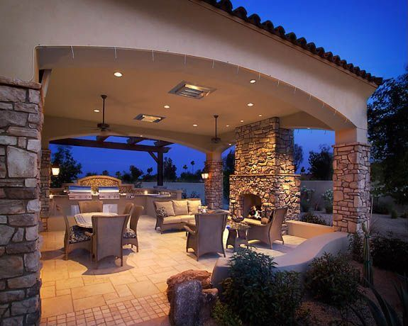 Mediterranean patio with exterior stone floors outdoor for Eldorado outdoor kitchen