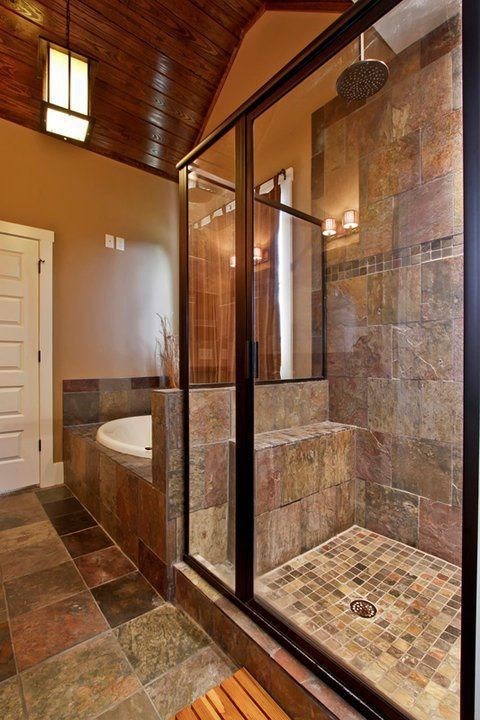 Craftsman Master Bathroom with framed showerdoor, Daltile terrain marrone fs98 3x3 field tile, specialty door, Pendant light
