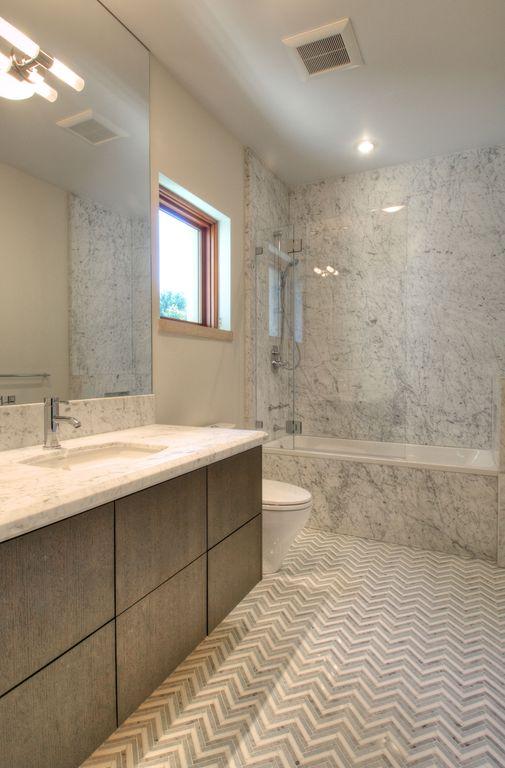 Contemporary Master Bathroom with shower bath combo, Flush, Full Bath, Complex granite counters, Casement, Standard height