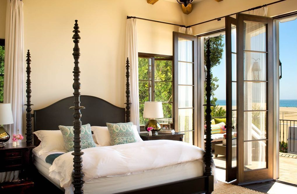 Mediterranean Master Bedroom with French doors, Four poster bed, Paint