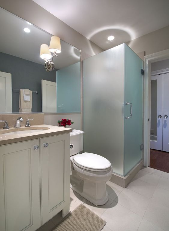 Contemporary 3/4 Bathroom with Undermount sink, large ceramic tile floors, Standard height, partial backsplash, Paint, Shower