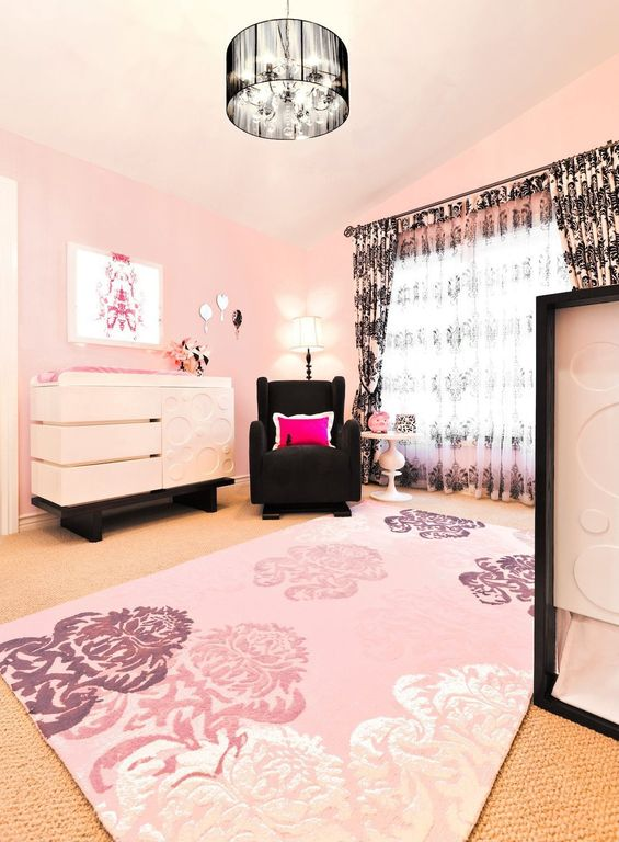 Contemporary Kids Bedroom with Chandelier, Vola glider - black, Paint 1, High ceiling, no bedroom feature, Carpet