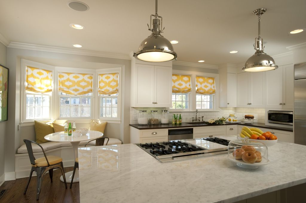 Contemporary Kitchen with Pendant light, Bay window, built-in microwave, Crown molding, Roman shades, Paint, Quartz counters