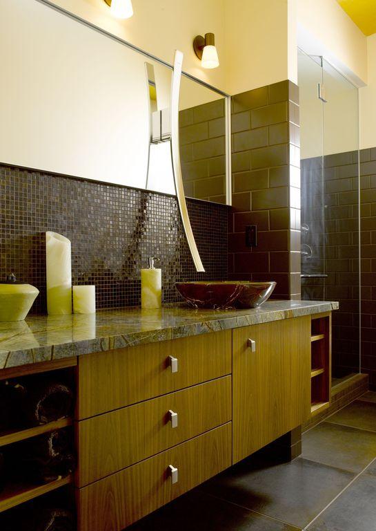 Modern 3/4 Bathroom with Flush, Vessel sink, Wall Tiles, European Cabinets, three quarter bath, Ceramic Tile, Shower