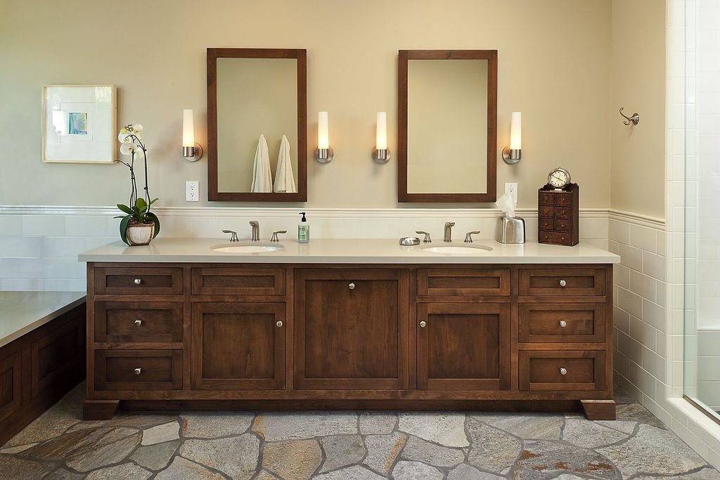 Craftsman Master Bathroom with Simple marble counters, Master bathroom, Inset cabinets, Flat panel cabinets, Wall sconce