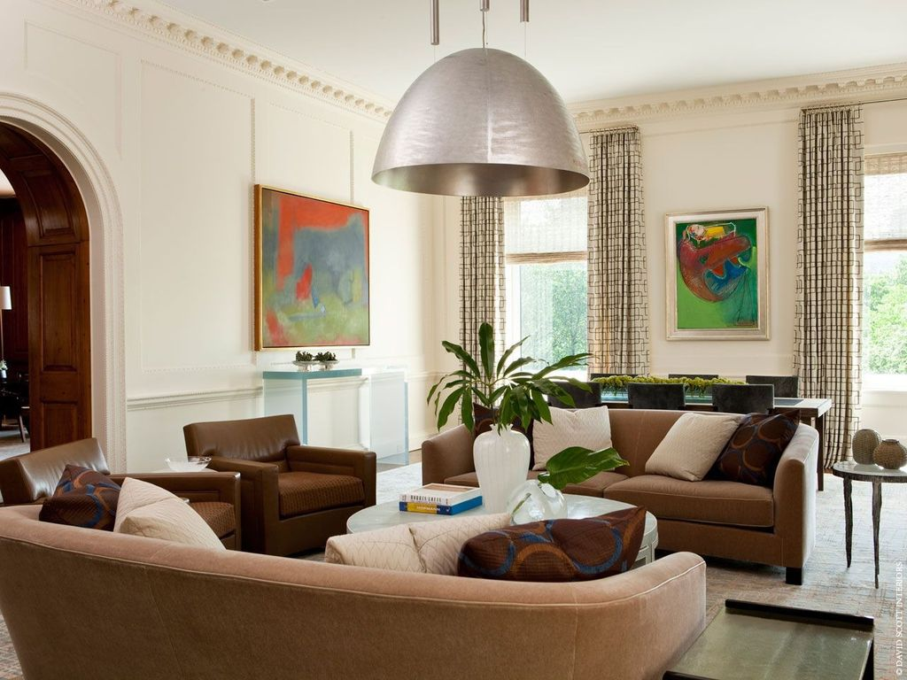 Contemporary Living Room with Carpet, flush light, Crown molding, Standard height, Chair rail, Casement
