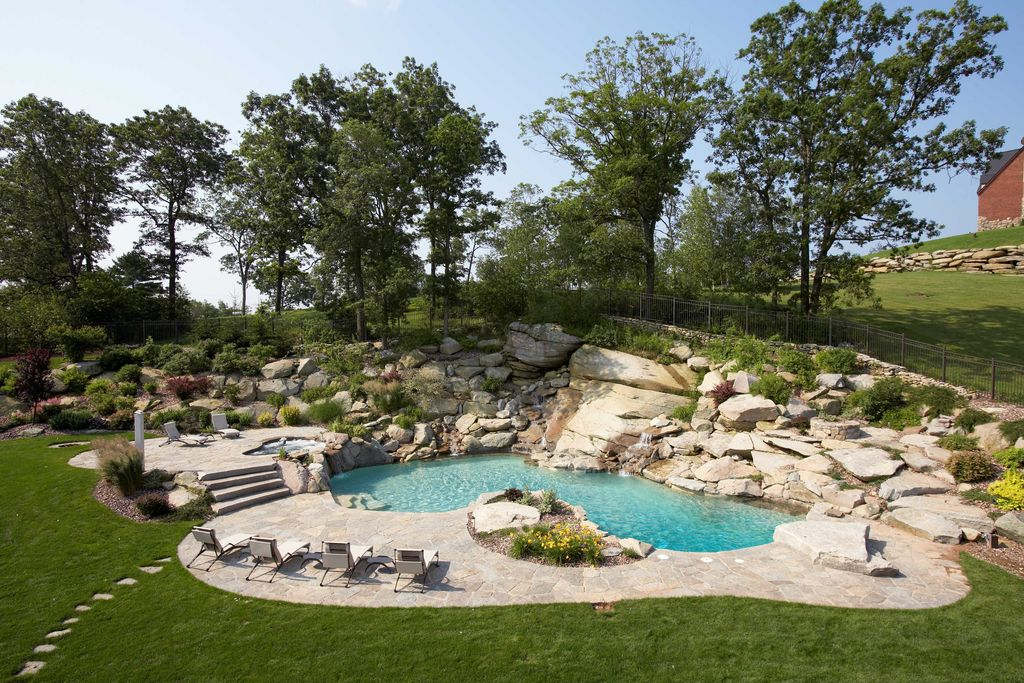 Rustic Swimming Pool with Pathway, Fence, exterior stone floors, Other Pool Type
