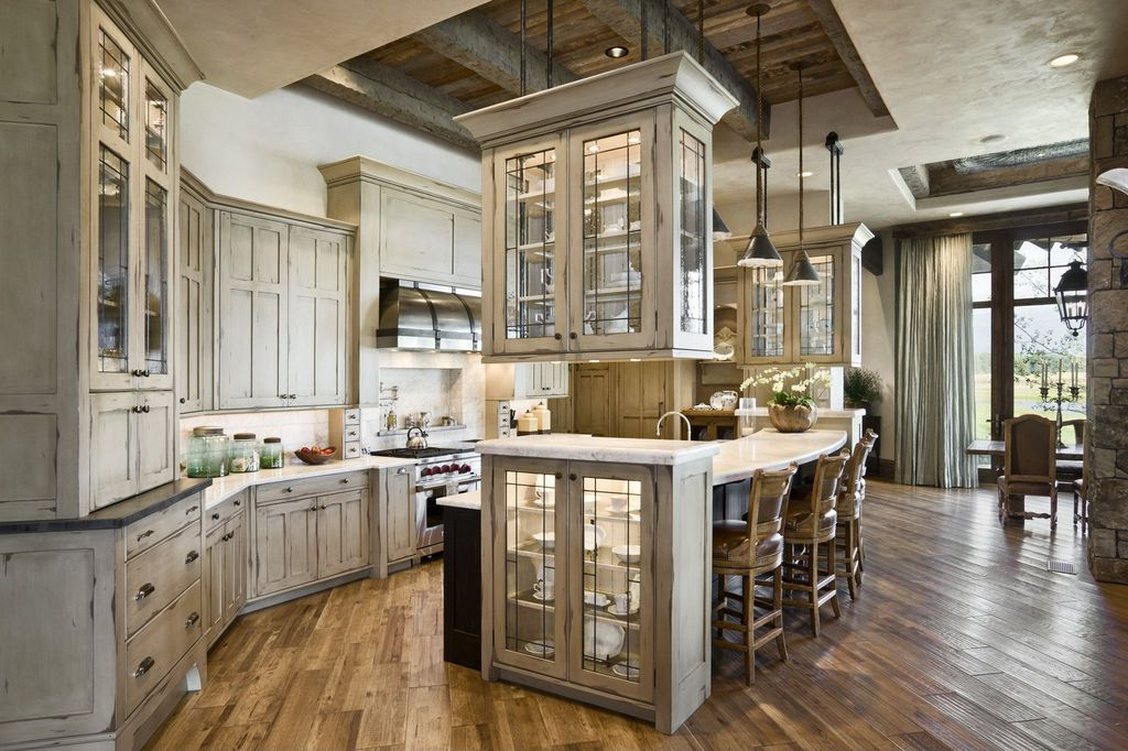 Country Kitchen with can lights, full backsplash, Breakfast bar, Large Ceramic Tile, French doors, Wall Hood, High ceiling