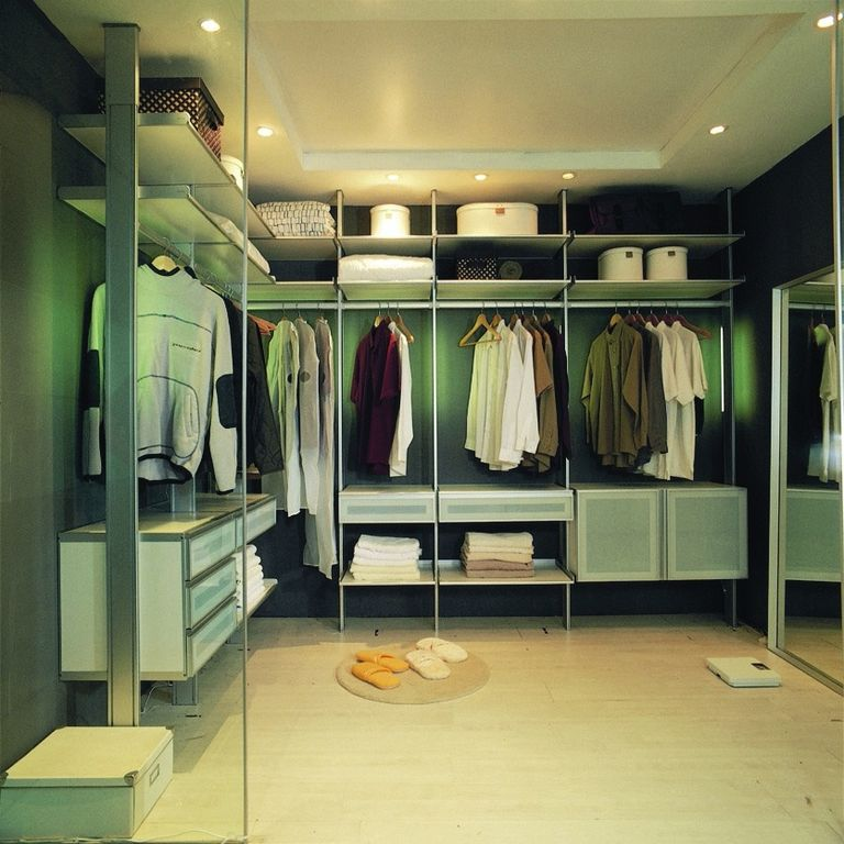 Modern Closet with picture window, can lights, High ceiling, Paint, Laminate floors