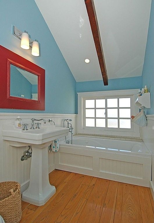 Cottage Full Bathroom with Shower, wall-mounted above mirror bathroom light, Wainscotting, Full Bath, Exposed beam, Casement