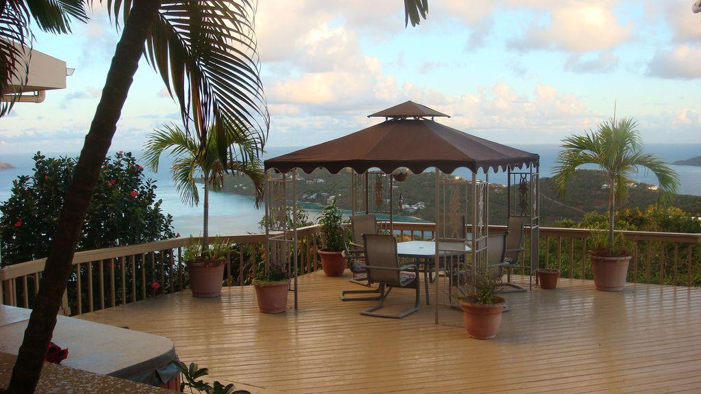 Tropical Deck with Deck Railing, Gazebo