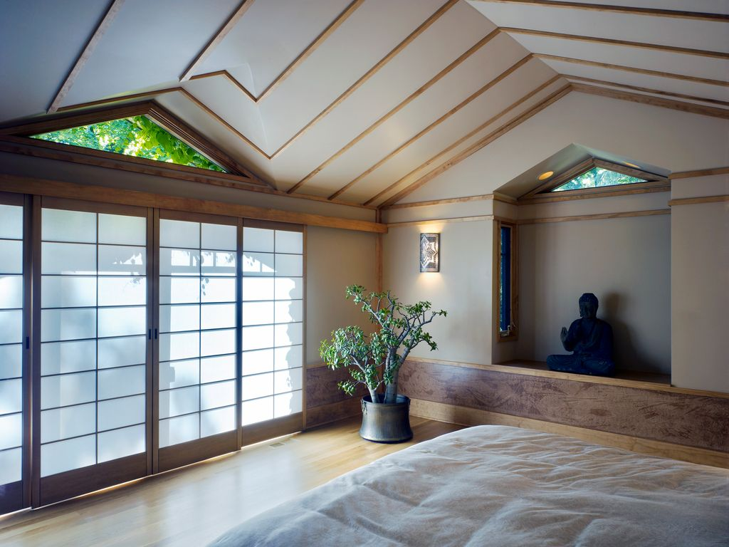 Asian Master Bedroom with Alfresco home thai buddha garden statue, High ceiling, Frontgate- vases small round nano planter