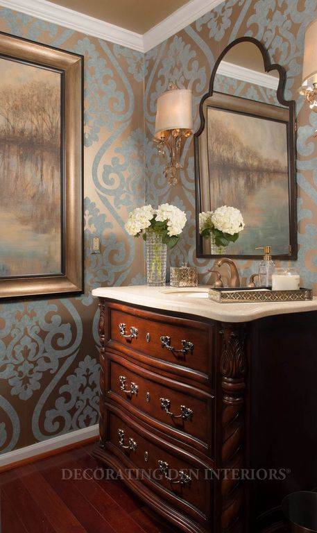 Traditional Powder Room with Inset cabinets, Wall sconce, Hardwood floors, Mirror image home hand carved wall mirror, Paint