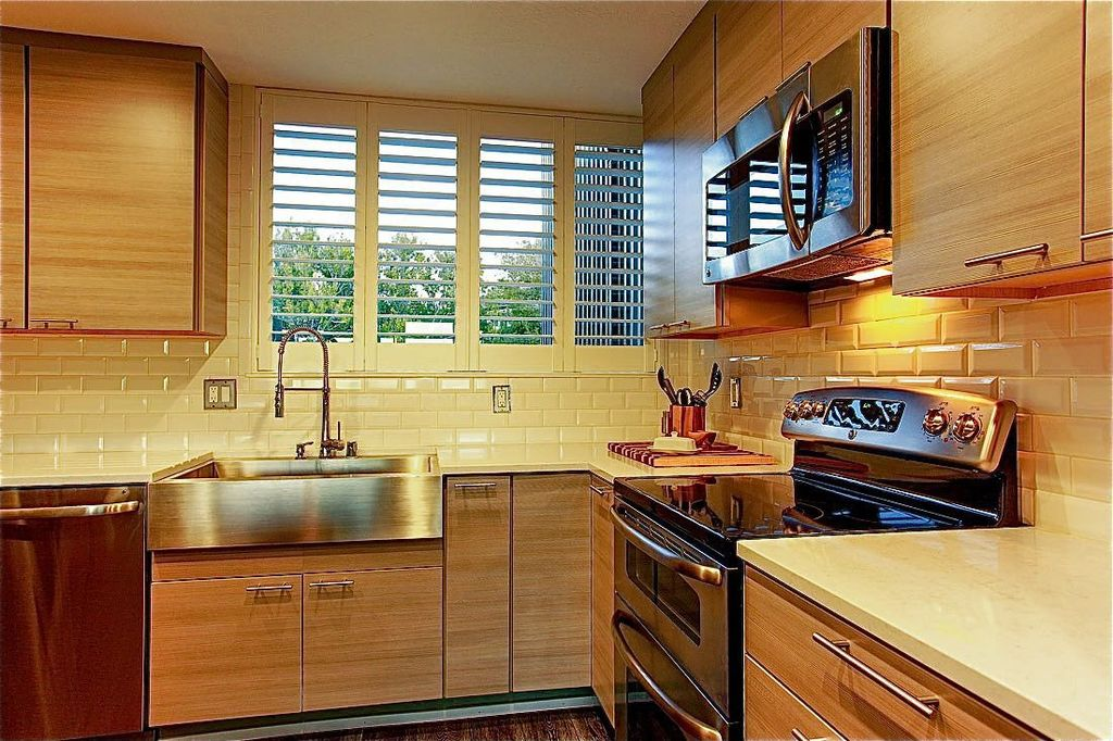 Contemporary Kitchen with Home depot: kraus farmhouse apron sink, built-in microwave, European Cabinets, L-shaped, Casement