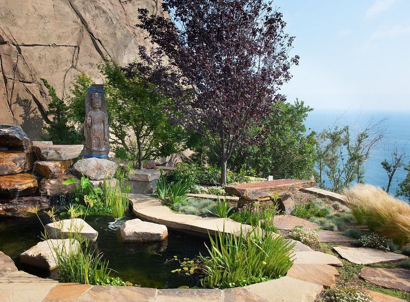 Traditional Landscape/Yard with Raised beds, Pathway, Pond, exterior stone floors