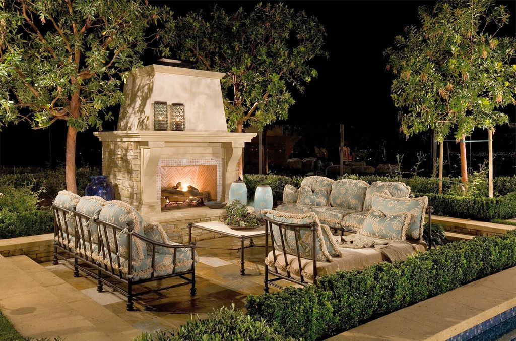 Traditional Patio with Custom Outdoor Fireplaces, MS International French Vanilla Tumbled Limestone, Frontage Sorrento Sofa