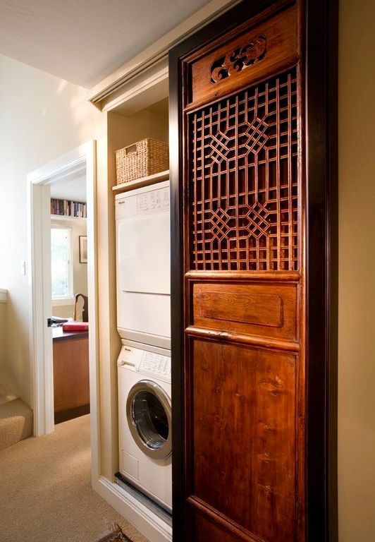 Asian Laundry Room with laundry sink, Built-in bookshelf, Undermount sink, Carpet, Standard height