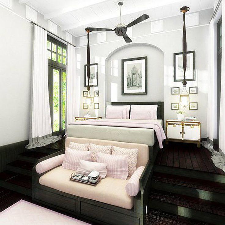 Craftsman Master Bedroom with picture window, Exposed beam, Pendant light, Hardwood floors, Casement, Standard height