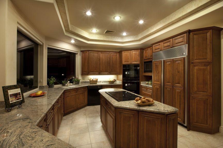 Craftsman Kitchen with Undermount sink, Raised panel, Complex Granite, U-shaped, Flush, Complex granite counters